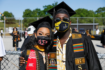 Bowie State University Student Government Association President Kortney Wells, left, and Vice President Leighton Williams at the Spring 2021 commencement, Friday, May 21, 2021.