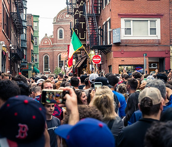 Celebrating Italy's EURO2020 win on the streets of Boston's North End