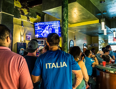 Watching the game inside Caffe Paradiso