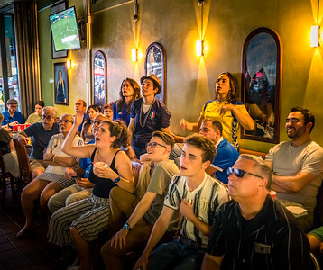 Tense moments during the game at Caffe Paradiso on Hanover St