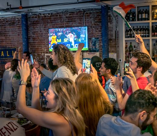Cheering Italia at Ducali Pizzeria in Boston's North End