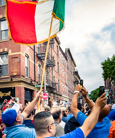 Waving the italian flag on Hanover Street in Boston's North End