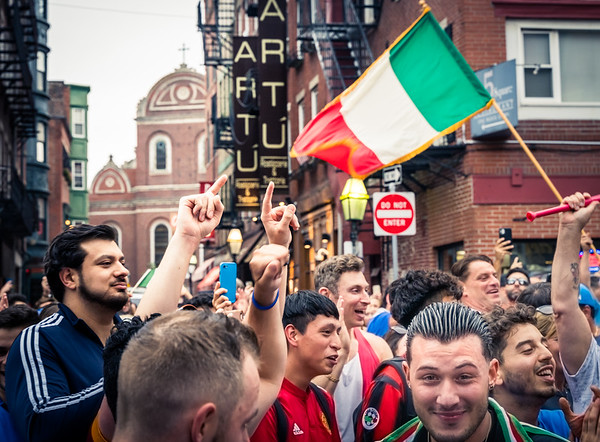 Celebrating Itay's EURO202 win in the streets of Boston's North End