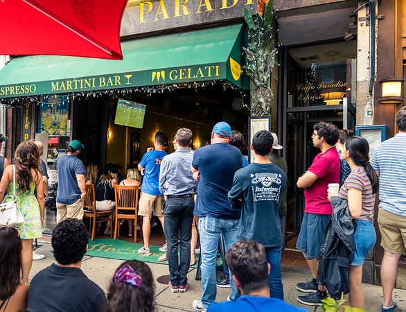 Lining up to watch the game outside Caffè Paradiso