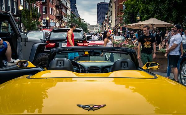 Abandoned Ferrari among revelers in Boston's North End