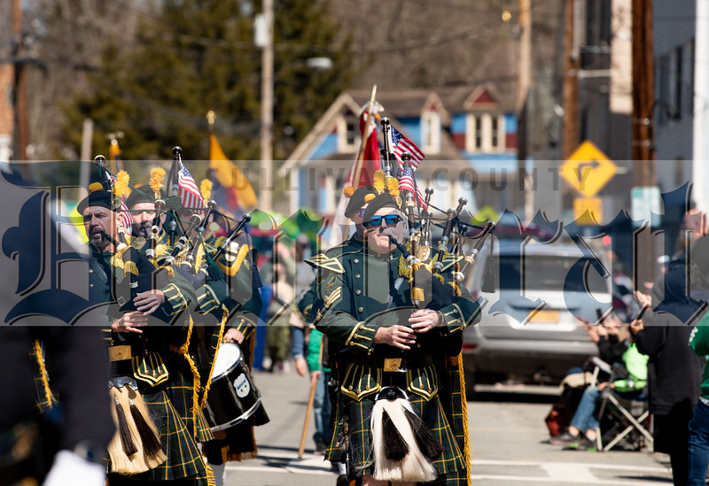This year's parade featured not one but two pipe and drum corps.