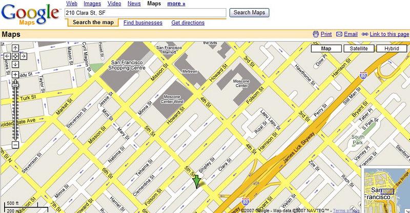 Our Green arrow location- 210 Clara St. SF off 5th bewtween Harrison & Folsom Streets.