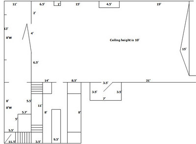 The studio plan with measurements, drawing not to scale also!