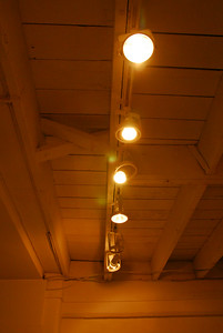 Our celing, rafters and track lighting
