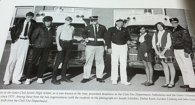 Ted accepting donation from Gates Chili Junior High School when I was in charge of the Chili Ambulance (1970)