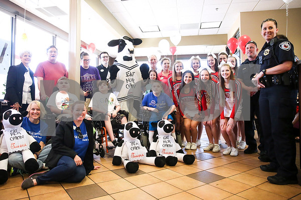 A lunch at Chick-Fil-A as part of a Make-A-Wish event for Ben Hall Hastings, 9, in Tyler, Texas, on Saturday, Feb. 18, 2017. Ben's wish also involved a shopping spree at Game Stop and Best Buy. (Chelsea Purgahn/Tyler Morning Telegraph)