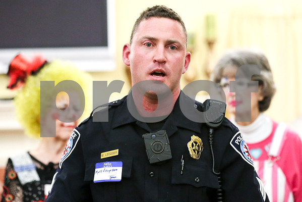 Tyler police unit sergeant Matt Leigeber speaks during an event co-hosted by the Rosy Nose Clown Alley and Atria Senior Living Community at the Atria Copeland in Tyler, Texas, on Monday, Feb. 27, 2017. The event honored law enforcement from around the Tyler area. (Chelsea Purgahn/Tyler Morning Telegraph)
