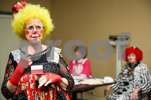 Dee Kirkpatrick speaks to law enforcement during an event co-hosted by the Rosy Nose Clown Alley and Atria Senior Living Community at the Atria Copeland in Tyler, Texas, on Monday, Feb. 27, 2017. The event honored law enforcement from around the Tyler area. (Chelsea Purgahn/Tyler Morning Telegraph)