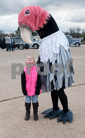 Kennedy Collins, 5, of Grand Saline, meets a larger than life buzzard at the city's first ever Buzzard Fest Saturday Feb. 6, 2016 in Grand Saline.  (Sarah A. Miller/Tyler Morning Telegraph)