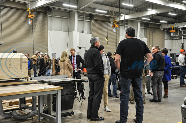Jacksonville residents gather at the high school for an Open House for the school's new Career and Technology building on Thursday, February 7. The school broke ground for the building approximately a year ago. (Jessica T. Payne/Tyler Morning Telegraph)