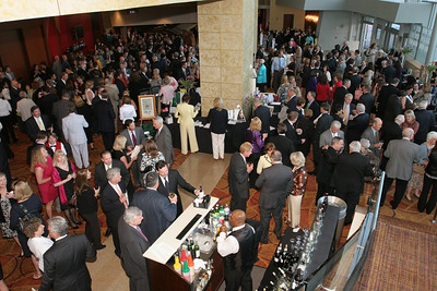 Hundreds of people gather in the atrium of the Cobb Energy Performing Arts Centre, Atlanta, for the reception that preceded the April 15 Catholic Charities Atlanta Gala.