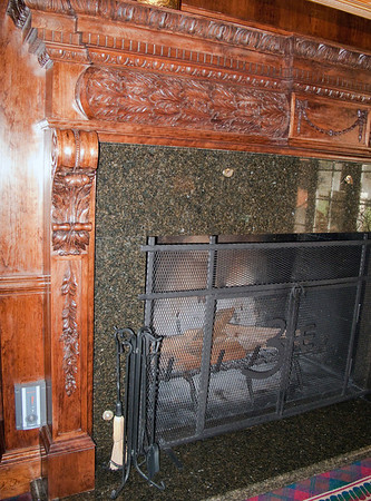 Hand carved fireplace mantle
