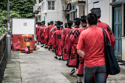 The afternoon procession for the 30 Houses' Yulan Festival in SOHO on September 3, 2018.