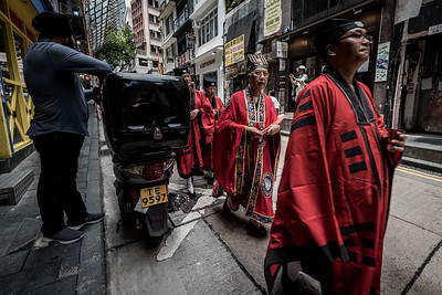 Taoist priests at the afternoon procession for the 30 Houses' Yulan Festival in SOHO on September 3, 2018.