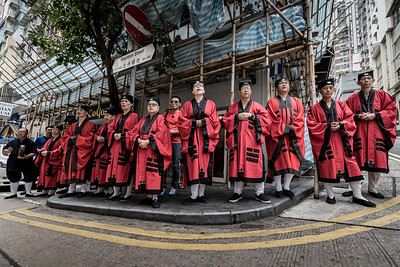 Taoist priests offer up prayers and chants at the 30 Houses' Yulan Festival in SOHO on September 3, 2018.