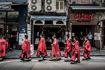 Taoist priests during the afternoon procession at the 30 Houses' Yulan Festival in SOHO on September 3, 2018.