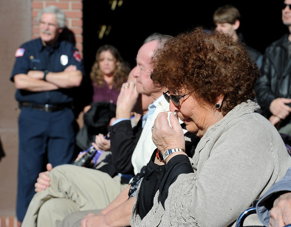 "Veronica Duran, sister of William, becomes emotional during the service.<br /> It has been 30-years since William Duran and Scott Smith died in a fire training exercise in Boulder. Friends and family gathered at Station No. 3 in Boulder  to remember the sacrifice.<br /> For a video and photos from the ceremony, go to  <a href=""http://www.dailycamera.com"">http://www.dailycamera.com</a>.<br /> January 26, 2012 / Cliff Grassmick"