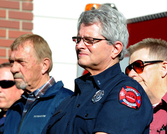 "Lt. Jay Ruggeri of the City of Boulder Fire-Rescue, gets emotional while listening to the service.<br /> It has been 30-years since William Duran and Scott Smith died in a fire training exercise in Boulder. Friends and family gathered at Station No. 3 in Boulder  to remember the sacrifice.<br /> For a video and photos from the ceremony, go to  <a href=""http://www.dailycamera.com"">http://www.dailycamera.com</a>.<br /> January 26, 2012 / Cliff Grassmick"