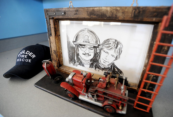 "This is a drawing of William Duran, left, and Scott Smith, who were lost in the training fire.<br /> It has been 30-years since William Duran and Scott Smith died in a fire training exercise in Boulder. Friends and family gathered at Station No. 3 in Boulder  to remember the sacrifice.<br /> For a video and photos from the ceremony, go to  <a href=""http://www.dailycamera.com"">http://www.dailycamera.com</a>.<br /> January 26, 2012 / Cliff Grassmick"