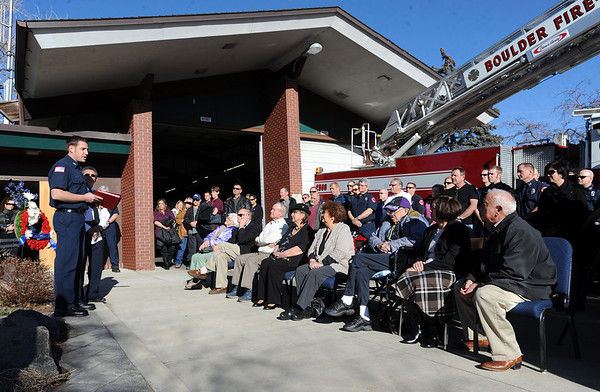 "Friends and family of the lost firefighters listen to speakers on Thursday.<br /> It has been 30-years since William Duran and Scott Smith died in a fire training exercise in Boulder. Friends and family gathered at Station No. 3 in Boulder  to remember the sacrifice.<br /> For a video and photos from the ceremony, go to  <a href=""http://www.dailycamera.com"">http://www.dailycamera.com</a>.<br /> January 26, 2012 / Cliff Grassmick"
