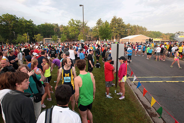 Record-Eagle/Keith King<br /> Runners wait for the start of the 30th annual Bayshore Marathon Saturday, May 26, 2012 at Northwestern Michigan College.
