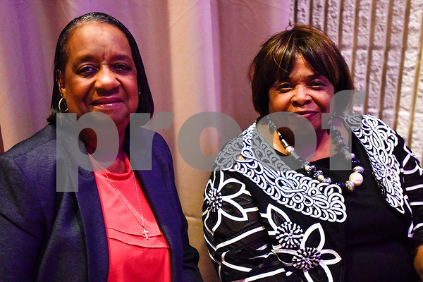 Helen Jefferson and Alice Crayton pose for a photo during Texas College's ninth annual Legacy Scholarship Fundraiser at Harvey Hall Convention Center in Tyler, Texas, on Friday, March 10, 2017. Five members of the community were honored for their commitment, dedication and service to Texas College and the City of Tyler. (Chelsea Purgahn/Tyler Morning Telegraph)
