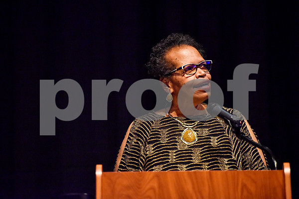 Orenthia Mason speaks during Texas College's ninth annual Legacy Scholarship Fundraiser at Harvey Hall Convention Center in Tyler, Texas, on Friday, March 10, 2017. Five members of the community were honored for their commitment, dedication and service to Texas College and the City of Tyler. (Chelsea Purgahn/Tyler Morning Telegraph)