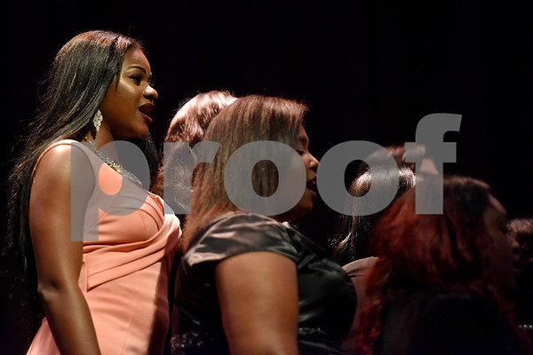 Texas College's choir sings during Texas College's ninth annual Legacy Scholarship Fundraiser at Harvey Hall Convention Center in Tyler, Texas, on Friday, March 10, 2017. Five members of the community were honored for their commitment, dedication and service to Texas College and the City of Tyler. (Chelsea Purgahn/Tyler Morning Telegraph)