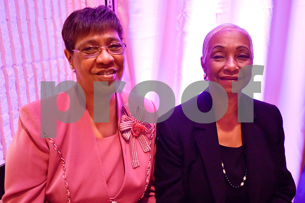 Kay Chappell and Shirley McKenzie pose for a photo during Texas College's ninth annual Legacy Scholarship Fundraiser at Harvey Hall Convention Center in Tyler, Texas, on Friday, March 10, 2017. Five members of the community were honored for their commitment, dedication and service to Texas College and the City of Tyler. (Chelsea Purgahn/Tyler Morning Telegraph)