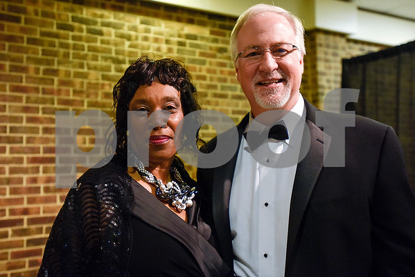 Tyler County Commissioner JoAnn Hampton and Tyler Mayor Martin Heines pose for a photo during Texas College's ninth annual Legacy Scholarship Fundraiser at Harvey Hall Convention Center in Tyler, Texas, on Friday, March 10, 2017. Five members of the community were honored for their commitment, dedication and service to Texas College and the City of Tyler. (Chelsea Purgahn/Tyler Morning Telegraph)
