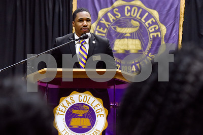 Christian Gooden, president of the Student Government Association, speaks during the Texas College Founders' Convocation at Texas College in Tyler, Texas, on Friday, March 16, 2018. The event celebrated 124 years of the college and featured special speakers and music performances. (Chelsea Purgahn/Tyler Morning Telegraph)