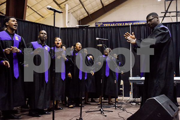 The Texas College Concert Choir sings during the Texas College Founders' Convocation at Texas College in Tyler, Texas, on Friday, March 16, 2018. The event celebrated 124 years of the college and featured special speakers and music performances. (Chelsea Purgahn/Tyler Morning Telegraph)