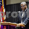 Dr. Stephen Jones, Vice President for Academic Affairs, speaks during the Texas College Founders' Convocation at Texas College in Tyler, Texas, on Friday, March 16, 2018. The event celebrated 124 years of the college and featured special speakers and music performances. (Chelsea Purgahn/Tyler Morning Telegraph)