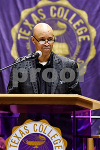 Spencer Hervey, president of the National Alumni and Ex-Student Association and trustee with the Board of Trustees, speaks during the Texas College Founders' Convocation at Texas College in Tyler, Texas, on Friday, March 16, 2018. The event celebrated 124 years of the college and featured special speakers and music performances. (Chelsea Purgahn/Tyler Morning Telegraph)