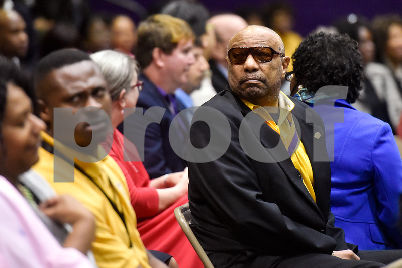 A man glances over his shoulder during the Texas College Founders' Convocation at Texas College in Tyler, Texas, on Friday, March 16, 2018. The event celebrated 124 years of the college and featured special speakers and music performances. (Chelsea Purgahn/Tyler Morning Telegraph)