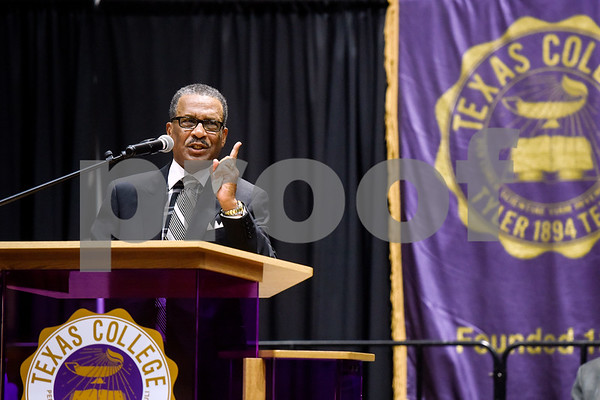 Dr. Willie Champion, presiding elder of the Dallas District of the Dallas-Fort Worth Region of the Christian Methodist Episcopal Church, speaks during the Texas College Founders' Convocation at Texas College in Tyler, Texas, on Friday, March 16, 2018. The event celebrated 124 years of the college and featured special speakers and music performances. (Chelsea Purgahn/Tyler Morning Telegraph)