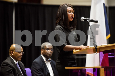 Miss Texas College Chasey Shephard speaks during the Texas College Founders' Convocation at Texas College in Tyler, Texas, on Friday, March 16, 2018. The event celebrated 124 years of the college and featured special speakers and music performances. (Chelsea Purgahn/Tyler Morning Telegraph)