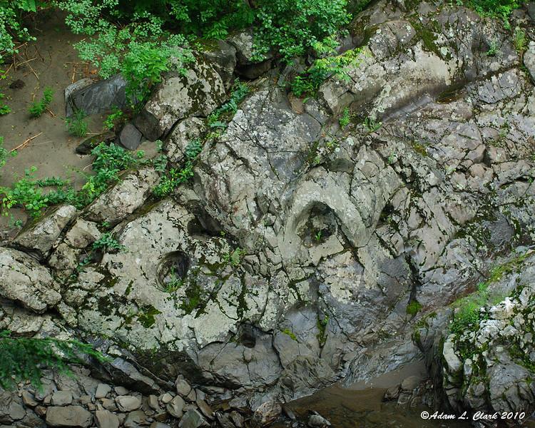Natural potholes along the river