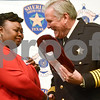 Corretta Davis reacts with emotion as she receives the Sheriff's Achievement Award at the annual Smith County Sheriff's Office Awards Dinner at Green Acres Baptist Church in Tyler, Texas, on Tuesday, March 20, 2018. This annual event gives Sheriff Larry Smith the opportunity to spotlight outstanding examples of leadership and excellence in the Sheriff's Office's employees. (Chelsea Purgahn/Tyler Morning Telegraph)