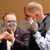"Josh Hill wipes away a tear as he walks up to receive the Detective Anthony D. Broyles ""Gentle Giant"" Award at the annual Smith County Sheriff's Office Awards Dinner at Green Acres Baptist Church in Tyler, Texas, on Tuesday, March 20, 2018. This annual event gives Sheriff Larry Smith the opportunity to spotlight outstanding examples of leadership and excellence in the Sheriff's Office's employees. (Chelsea Purgahn/Tyler Morning Telegraph)"