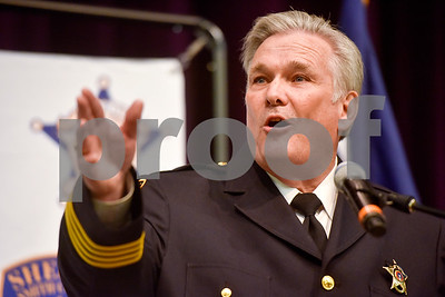 Sheriff Larry Smith speaks at the annual Smith County Sheriff's Office Awards Dinner at Green Acres Baptist Church in Tyler, Texas, on Tuesday, March 20, 2018. This annual event gives Sheriff Larry Smith the opportunity to spotlight outstanding examples of leadership and excellence in the Sheriff's Office's employees. (Chelsea Purgahn/Tyler Morning Telegraph)