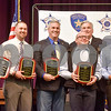 Tobby Hughes, Jason Railsback, Doug Haning, Kelly Cox and Juan Cervantes are awarded the Commander's Citation by Sheriff Larry Smith for their work during Hurricane Harvey at the annual Smith County Sheriff's Office Awards Dinner at Green Acres Baptist Church in Tyler, Texas, on Tuesday, March 20, 2018. This annual event gives Sheriff Larry Smith the opportunity to spotlight outstanding examples of leadership and excellence in the Sheriff's Office's employees. (Chelsea Purgahn/Tyler Morning Telegraph)