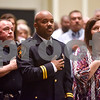 People stand during the national anthem at the annual Smith County Sheriff's Office Awards Dinner at Green Acres Baptist Church in Tyler, Texas, on Tuesday, March 20, 2018. This annual event gives Sheriff Larry Smith the opportunity to spotlight outstanding examples of leadership and excellence in the Sheriff's Office's employees. (Chelsea Purgahn/Tyler Morning Telegraph)