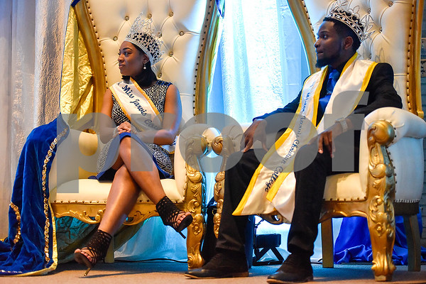 Miss and Mr. Jarvis Christian College 2016-2017 Breeya S. London and Jamar Washington listen during the Mr. and Miss Jarvis Pageant at Jarvis Christian College in Hawkins, Texas, on Wednesday, March 22, 2017. The pageant featured personal style, professional attire, an oral presentation, formal wear, and question and answer rounds. (Chelsea Purgahn/Tyler Morning Telegraph)