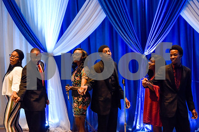 A Jarvis Christian College singing group performs during the Mr. and Miss Jarvis Pageant at Jarvis Christian College in Hawkins, Texas, on Wednesday, March 22, 2017. The pageant featured personal style, professional attire, an oral presentation, formal wear, and question and answer rounds. (Chelsea Purgahn/Tyler Morning Telegraph)